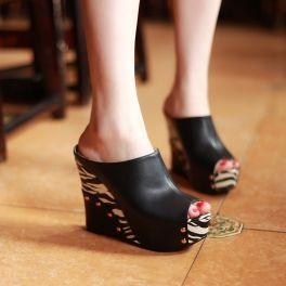 Black Platform zebra designer rivet wedges women slipper (3 Colors Avail)