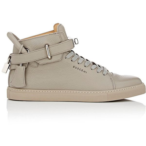 Buscemi Men's 100MM Sneakers ($890) ❤ liked on Polyvore featuring men's fashion, men's shoes, men's sneakers, grey, mens high top sneakers, mens hi tops, mens grey shoes, mens high tops and mens shoes