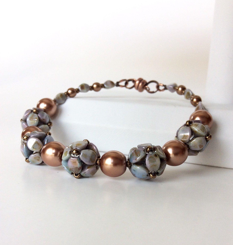 Beadwork pinch bead bracelet with pearls , Beaded bead grey bronze bracelet, by craftybeadcollection on Etsy