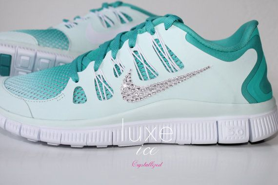 NIKE Run Free 5.0 Breathe running shoes w Swarovski Crystals detail - Mint  blue - 8.5 on Etsy 6c44abc4c