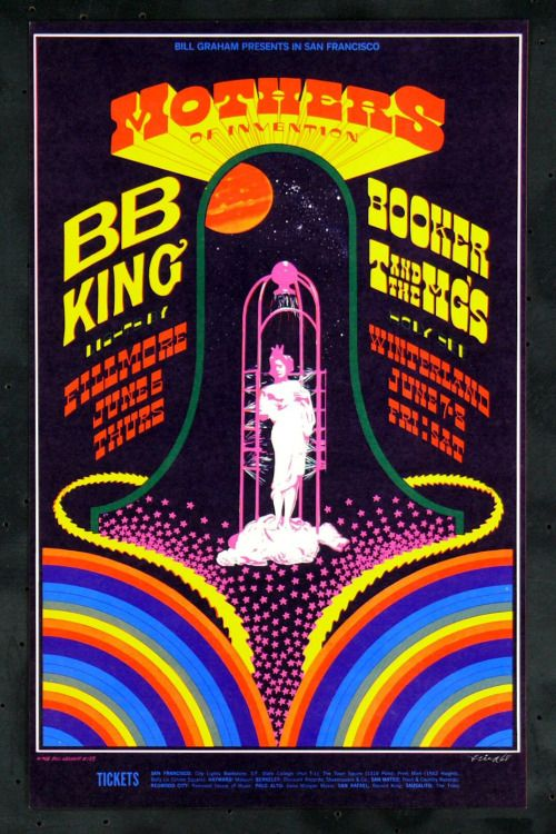 theelectricundeground:  Bill Graham Presents Mothers of Invention & B.B. King by Artist Robert Fried in 1968.
