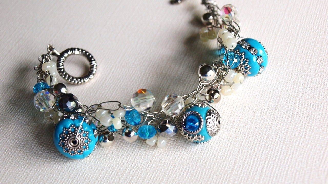 Turquoise Silver and Beaded Crocheted by SweetCarolinaCharm, $34.00