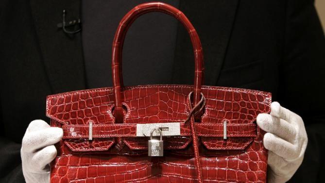 "A $129,000 crocodile-skin Hermes ""Birkin"" bag is pictured on June 21, 2007"