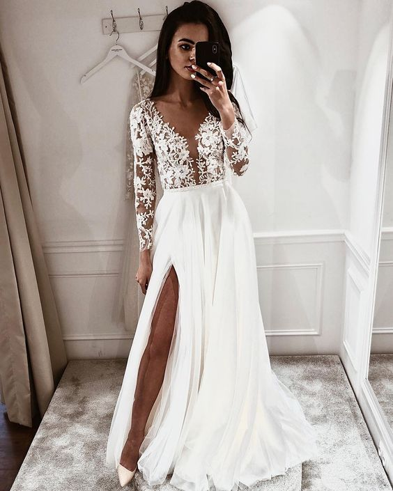 Simple A Line V Neck Open Back Long Sleeves Lace Wedding Dresses with Split 9
