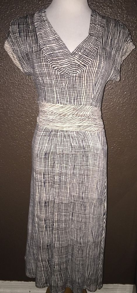Anthropologie Deletta Short Sleeve Navy Blue Cream V Neck Dress S #Anthropologie #Stretch