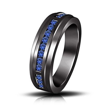 Engagement Band Ring Blue Cubic Zirconia Men S Black Rhodium Over