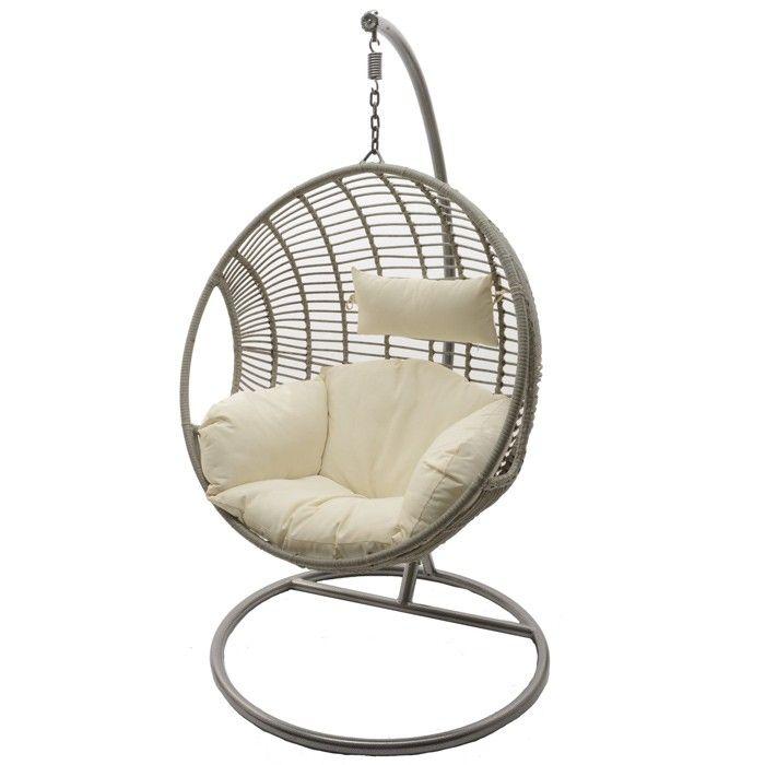 Decoris Round Hanging Chair Taupe Hanging Chair Outdoor Outdoor Hammock Chair Hanging Swing Chair