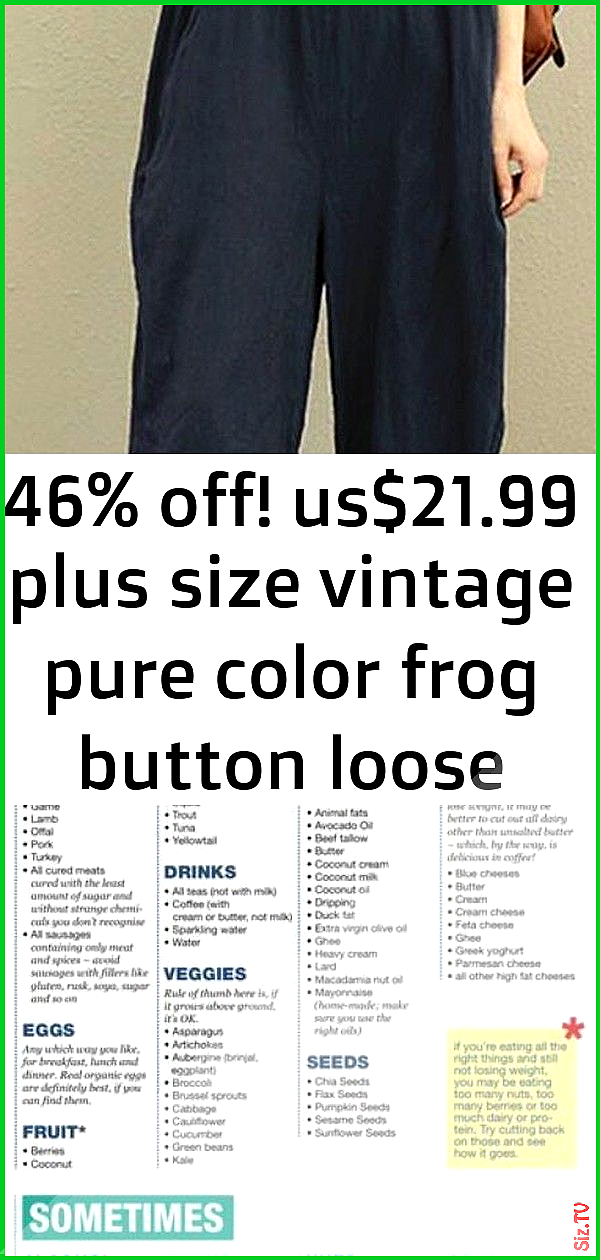 46 off us 21 99 plus size vintage pure color frog button loose women sleeveless jumpsuits shop n 1 4...
