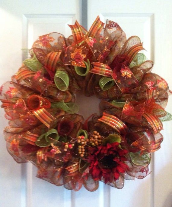 Fall Wreath/ Harvest Wreath/ Thanksgiving Wreath/ Fall Deco Mesh Wreath/ Fall Door Decor #decomeshwreaths