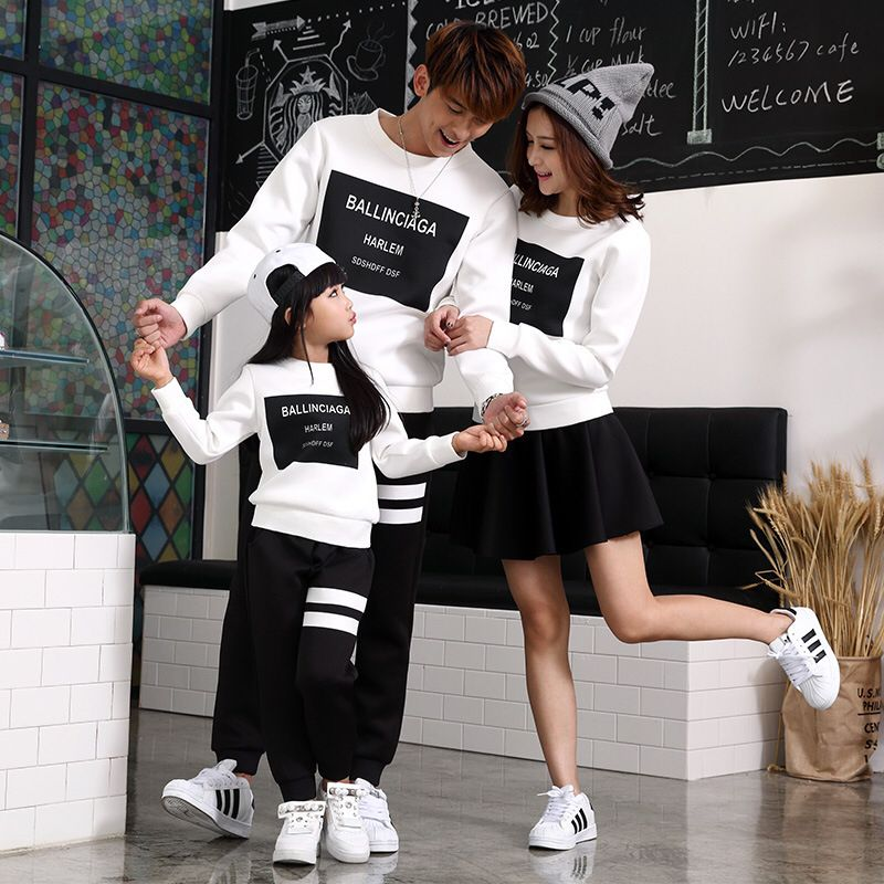Winter Autumn Family Clothing Casual Letter Print Family -2911
