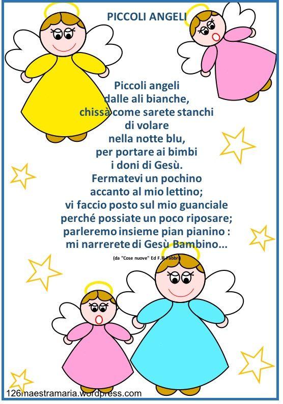 Natale biglietto con poesia e angeli da colorare natale for Lavoretti di natale maestra mary