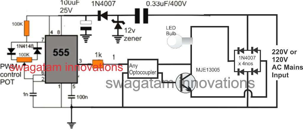 In This Article We Learn How To Make A Dimmer Circuit For Leds Bulbs And Led Tubes Which Are Intended To Be Operated With Mains 220v Led Bulb Dimmer Led Dimmer