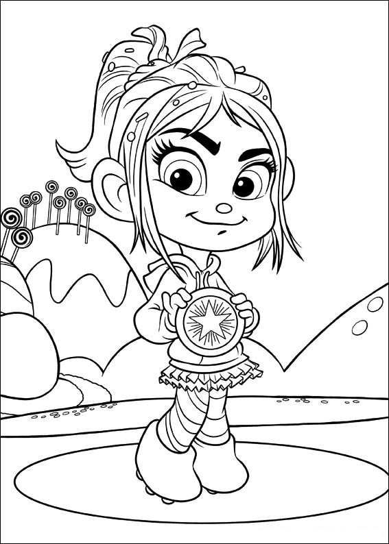 Coloring Page Wreck It Ralph Vanellope Von Schweetz Disney Coloring Pages Coloring Pages Cute Coloring Pages