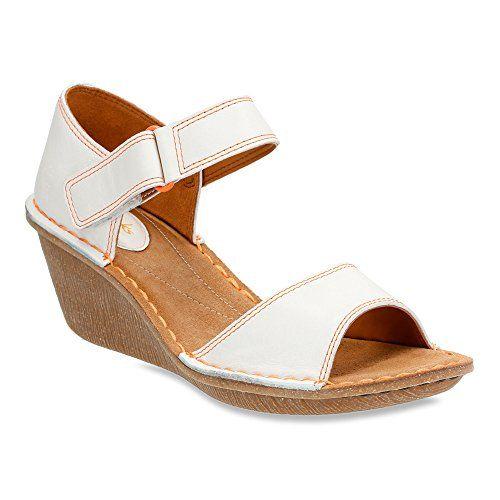 Clarks Women's Orient Sea Wedge Sandal,White Leather,US 9... https