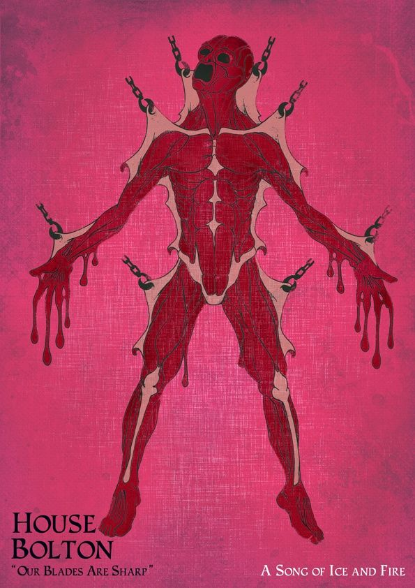 House Bolton S Sigil A Flayed Man Red On Pink Game Of Thrones Queen Of Dragons Coat Of Arms