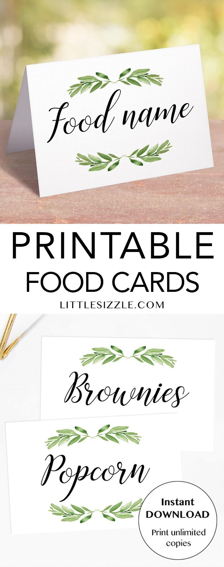 Greenery Food Labels Printable Food Labels Printable Food Labels Recipe Cards