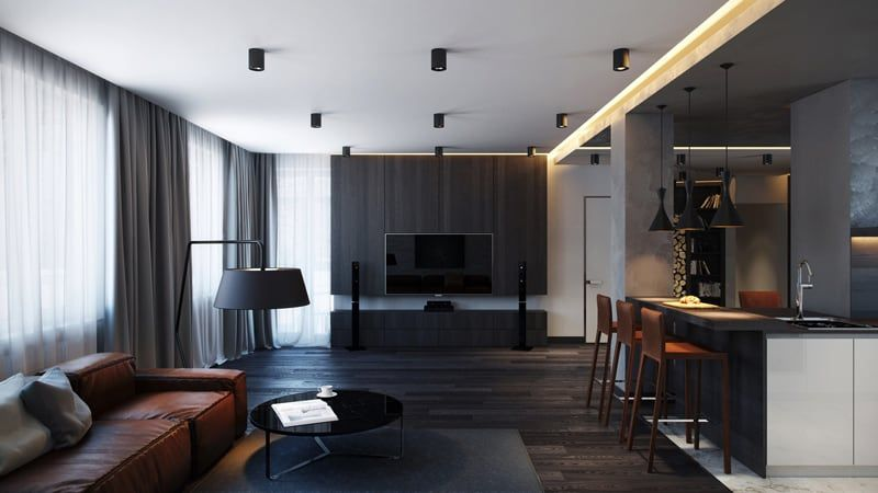 Amazing Apartments That Make Creative Use Of Texture And Pattern Masculine Living Rooms Apartment Interior Floor Lounging