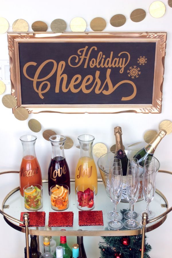 Diy Holiday Cheers Mimosa Bar The Sweet Escape Creative Studio Holiday Bar Christmas Dinner Set Christmas Cocktail Party