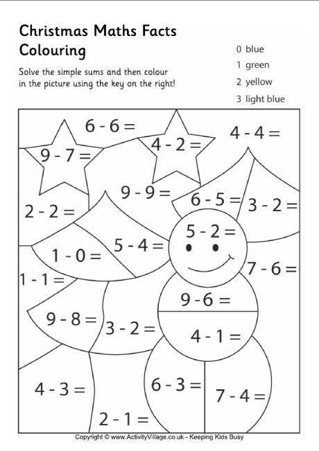 Christmas Maths Facts Colouring Page 2 Christmas Math Worksheets Christmas Math Activities Christmas Math