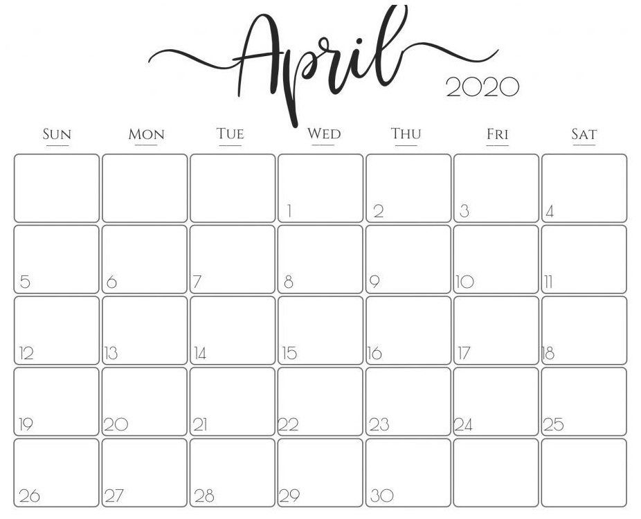 Printable April 2020 Calendar – Waterproof Paper | Printable