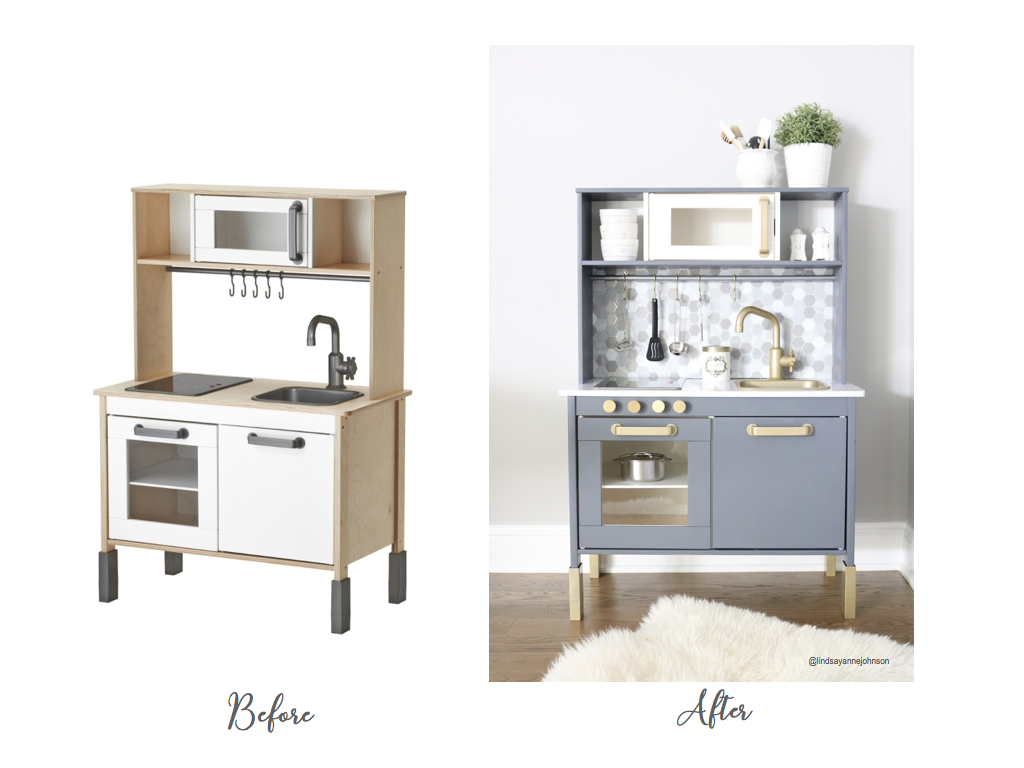 Before and After of the IKEA Duktig Kitchen hack Midwest