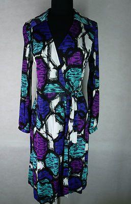ETCETERA womens black white blue purple long sleeve rayon wrap around dress 4