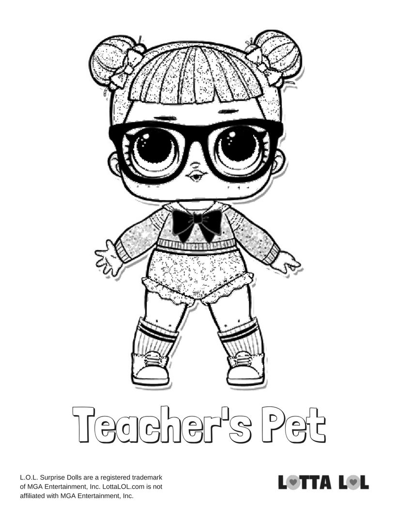 teacher s pet coloring page lotta lol lol glitter series coloring