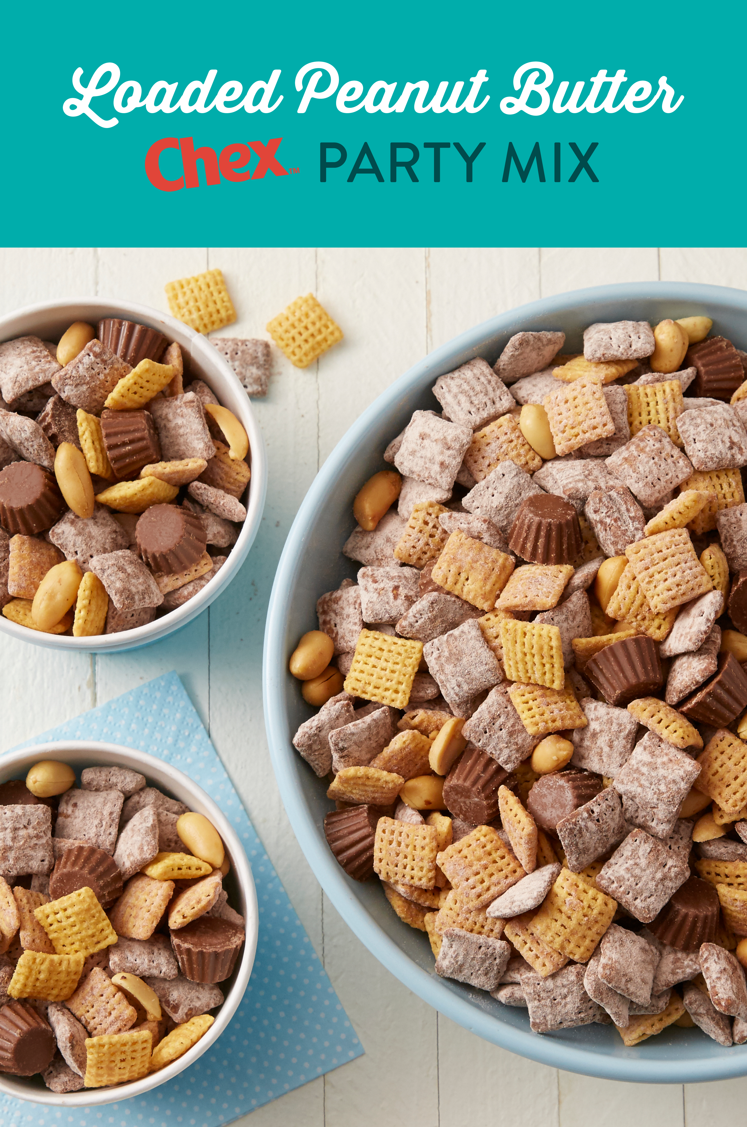 Loaded Peanut Butter Chex Party Mix Recipe Snacks Food Snack Mix