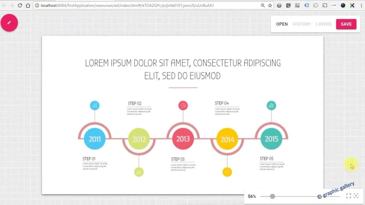 infographic timeline template in our online editor online editor
