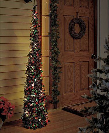 Affordable Collapsible 65 Lighted Christmas Trees in Greenred for
