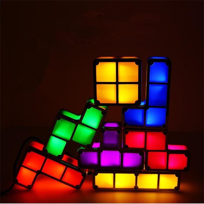 Tetris Light Up 7 Pcs Puzzle Tower Puzzle Lights Led Night Light Light Up
