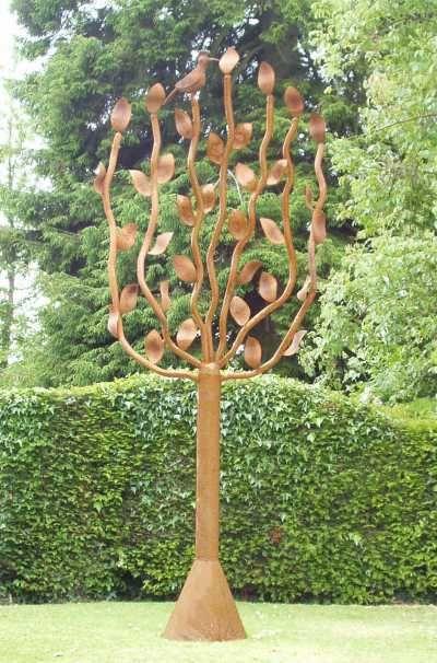 Superb Steel Garden Or Yard Sculpture By Artist David Mayne Titled: U0027Tree (and  Bird Steel Metal Garden /Yard Big Outdoor Statues /Sculpture)u0027