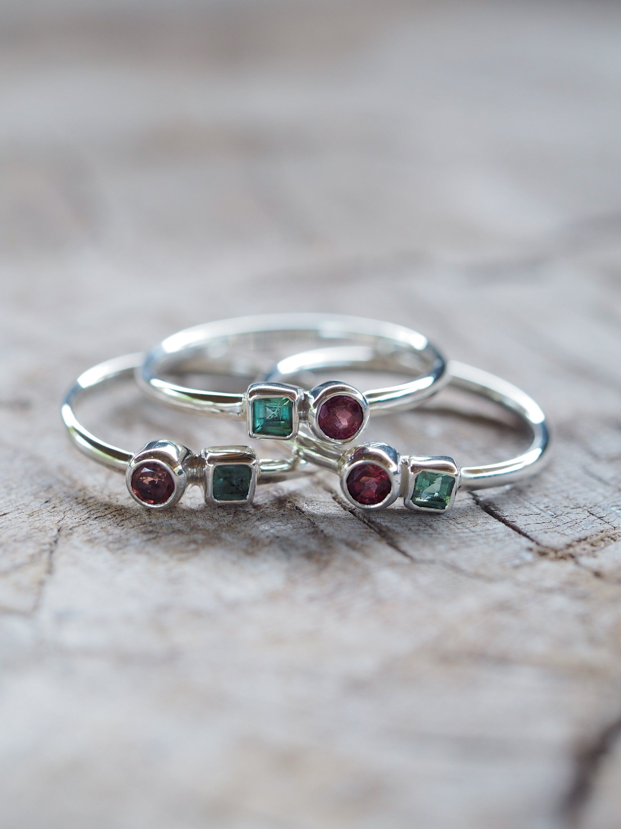 White Topaz Yellow Citrine Sterling Silver ring with Prong Set 6mm Green  Amethyst Garnet or Green Topaz Aquamarine