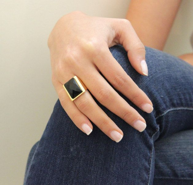 Great gift for best friend. Rings – Amazing Gold Plated Ring With Black Onyx – a unique product by galisjd via en.DaWanda.com