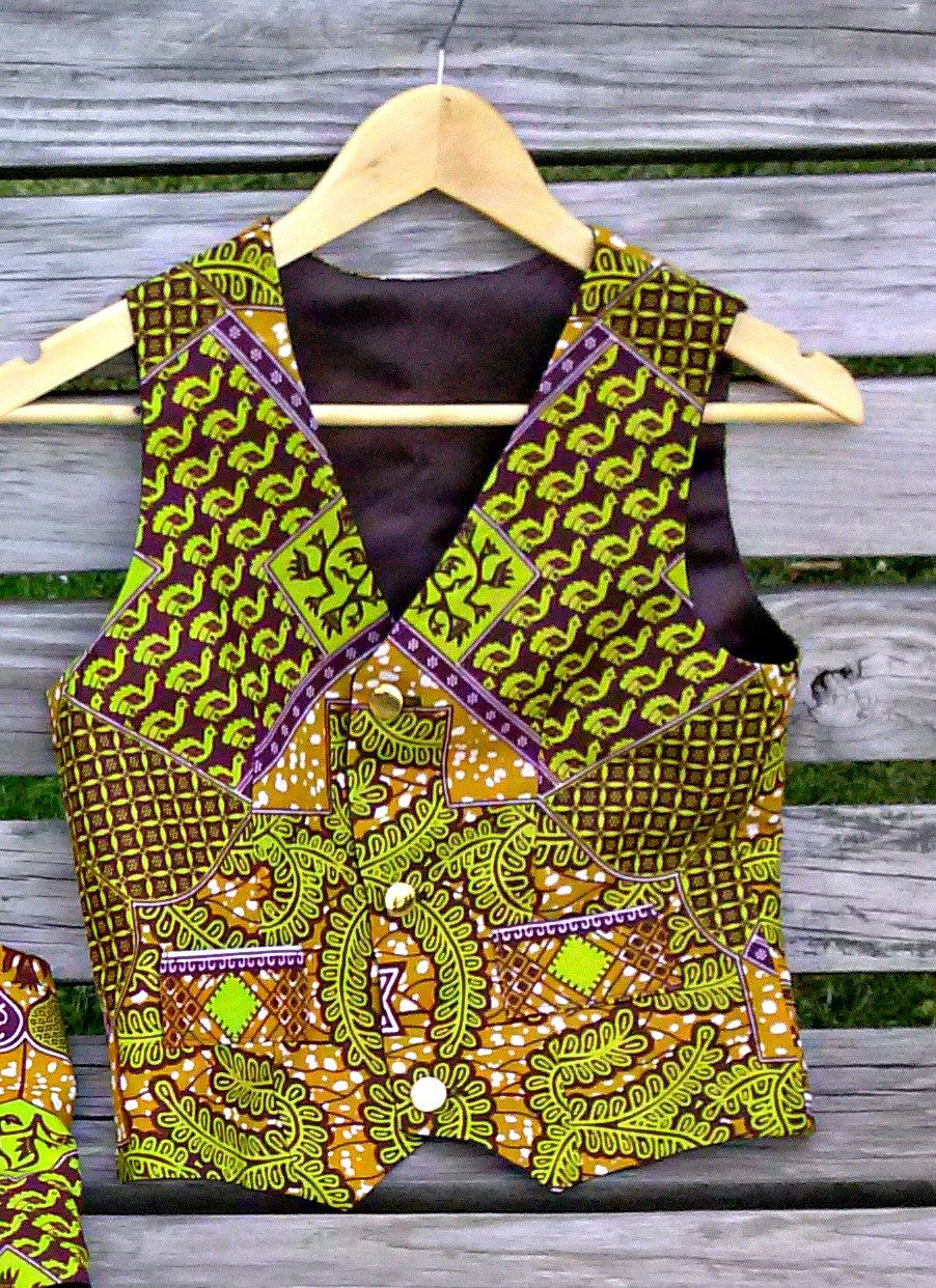 b8e5ce15b9be African print boys vest and bow tie set, green,mustard gold, burgundy vest  set, boys waistcoat, father and son vest set, by VetisDezigns on Etsy