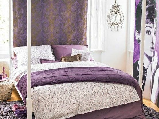 Purple Bedroom Design Vintage Decoration Elements