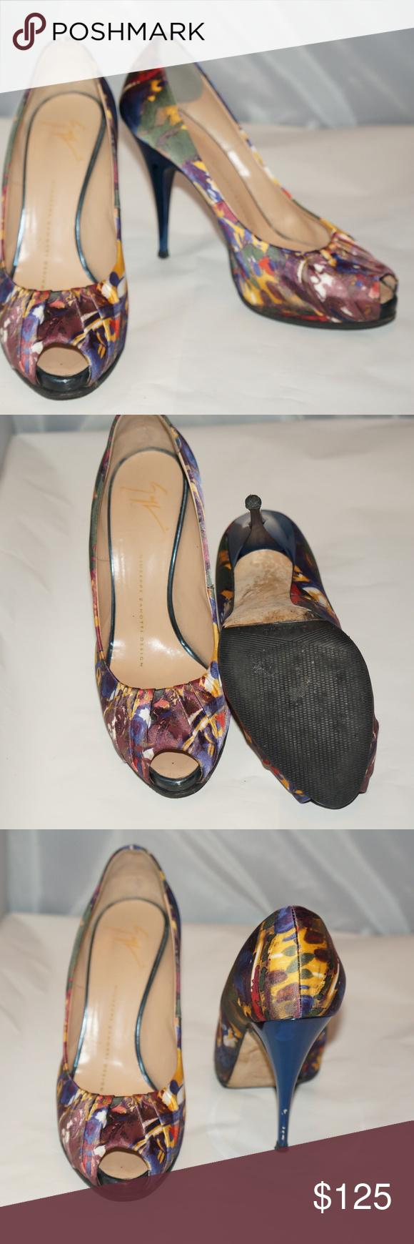 aaa9e4888e Giuseppe Zanotti Floral peep toe pumps Giuseppe Zanotti Women's Floral Shoes  GIUSEPPE ZANOTTI Sz 6.5 B Navy Floral Print Satin Platform PeepToe Pumps  Heels ...