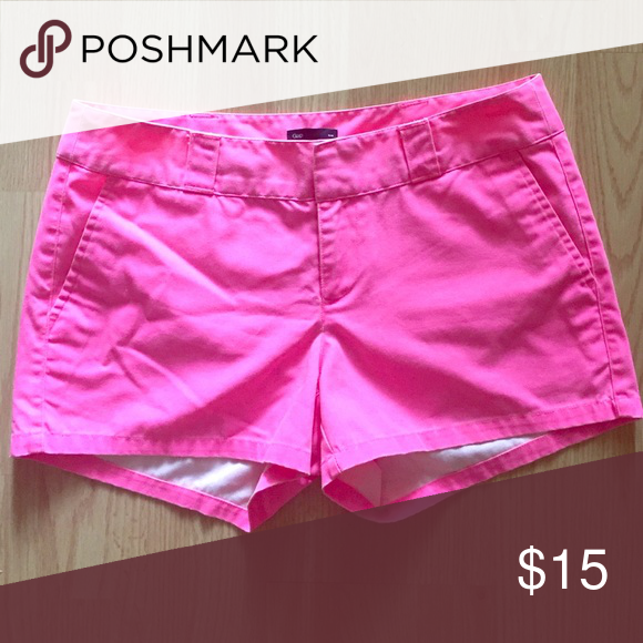 GAP Bright Pink Casual Shorts GAP Bright Pink Casual Shorts. Very similar to JCrew Chino shorts, if you are familiar with those. Worn a few times but still looks great! Size 6. GAP Shorts