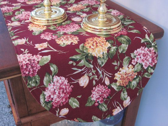"Burgundy Floral 36"" Table Runner Reversible Plum Table Runner Maroon Fall Flowers Table Runner Hydrangea Table Runner Fall Table Runner"