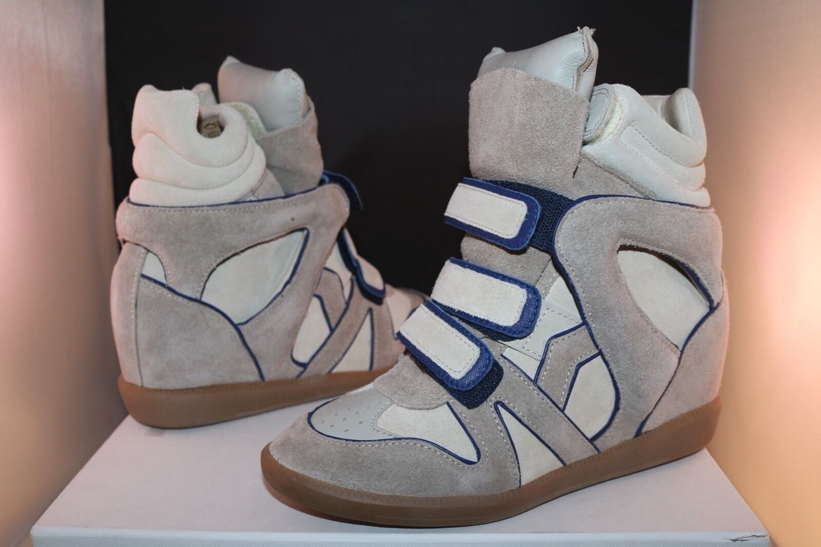 b3685c247b5f Isabel Marant Bayley Tony s Wila Blue Ivory Wedge High Top Sneakers 38 Beige  Athletic Shoes.