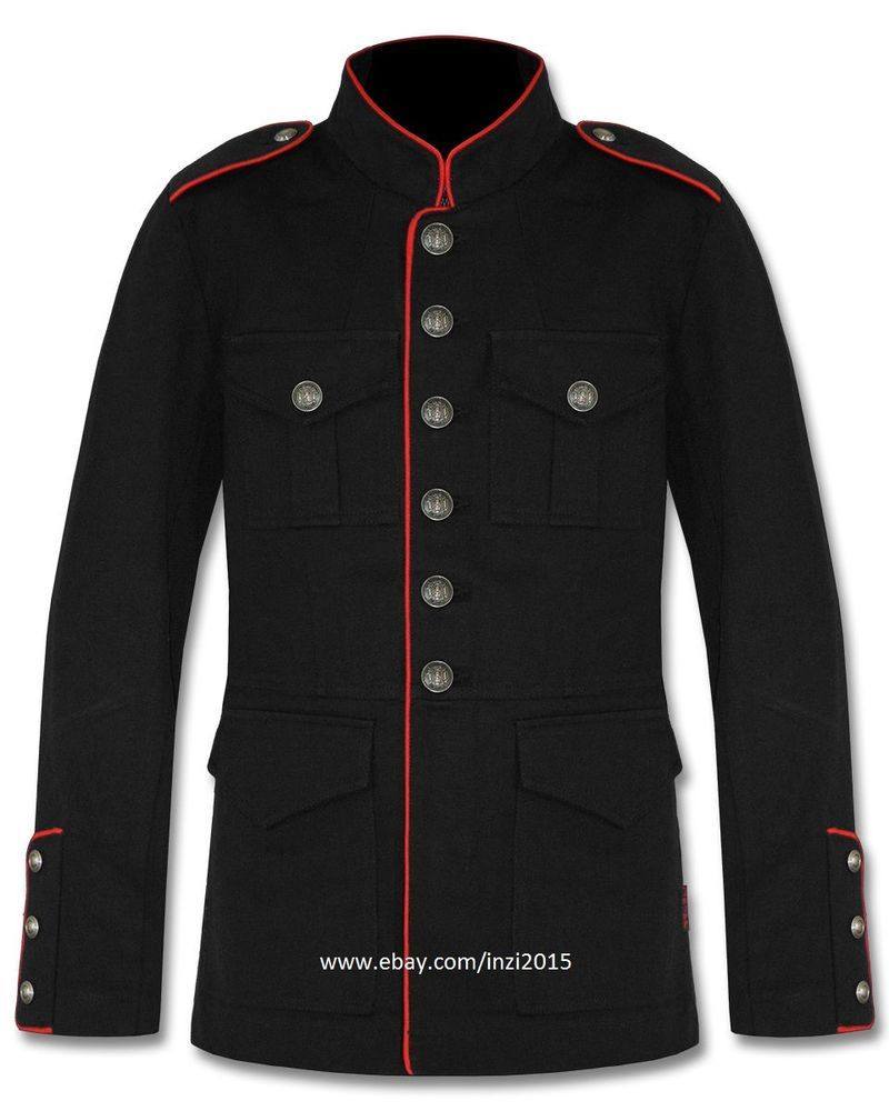 a58ee298364 Mens Military Jacket Black Red Goth Steampunk Army Officer Pea Coat   RoyalSwag  Military