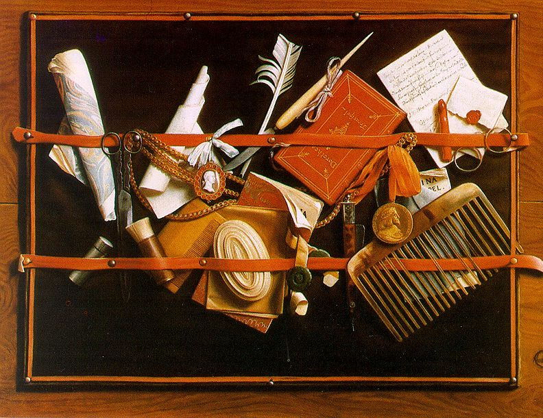 Still Life, 1666-68, oil on canvas, Staatliche Kunsthalle, Karlsruhe. Samuel Dircksz van Hoogstraten.