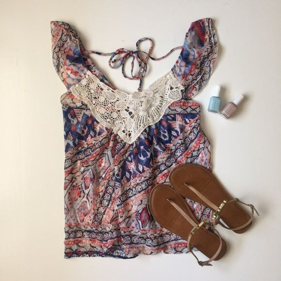 {NWT Delia's top • Sz XS} Beautiful crocheted chiffon top from delia's. Perfect for spring/summer! Tops