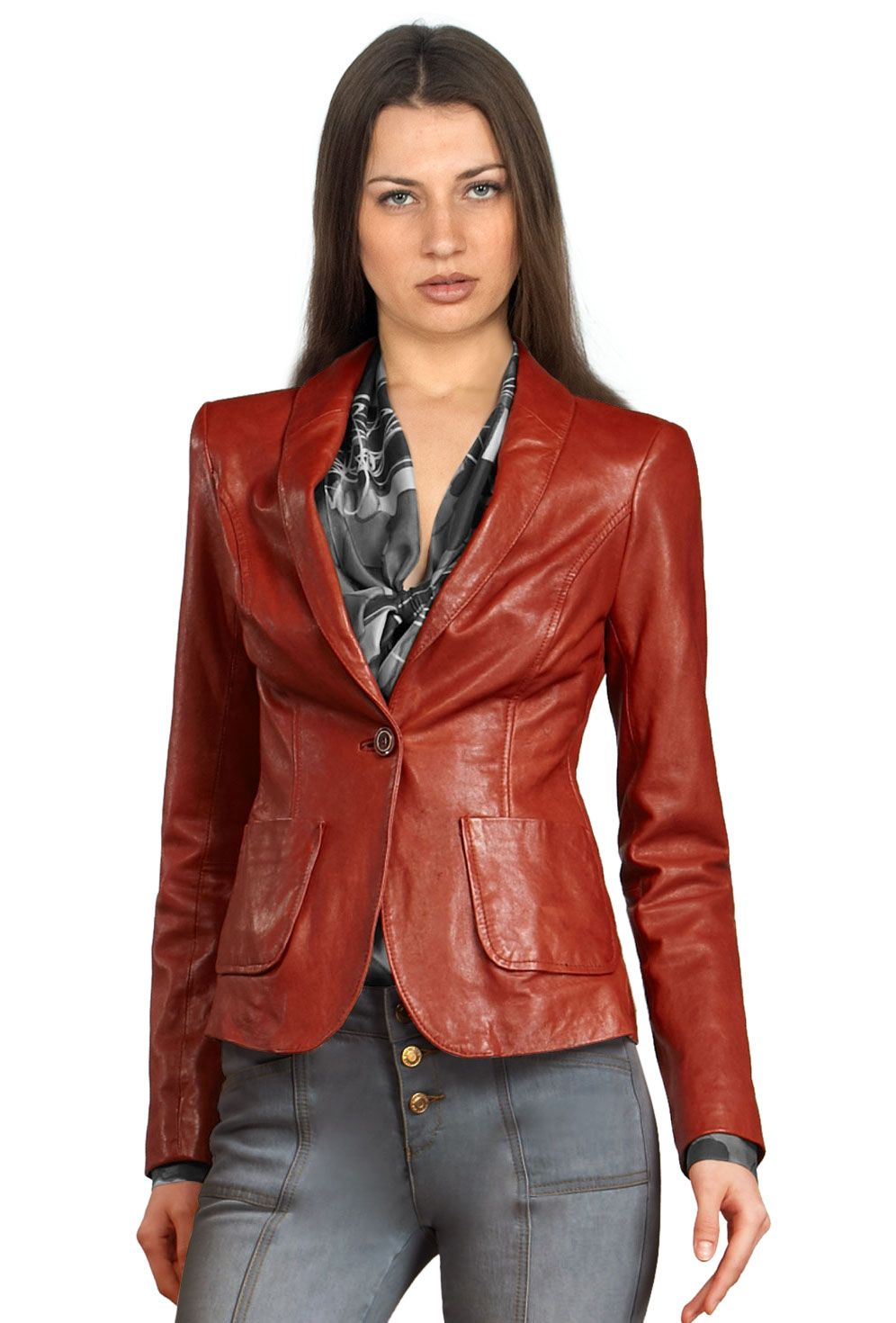 Retro Pattern Single Buttoned Official Leather Blazer | Leather Blazers | Pinterest | Leather ...