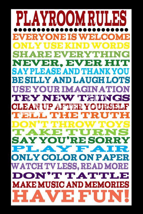 Playroom Rules Poster Rainbow Art Kid Decor Kid Print Wall