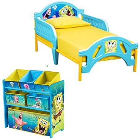 Spongebob Toddler Bed And Multi Bin Organizer Bundle With Bonus