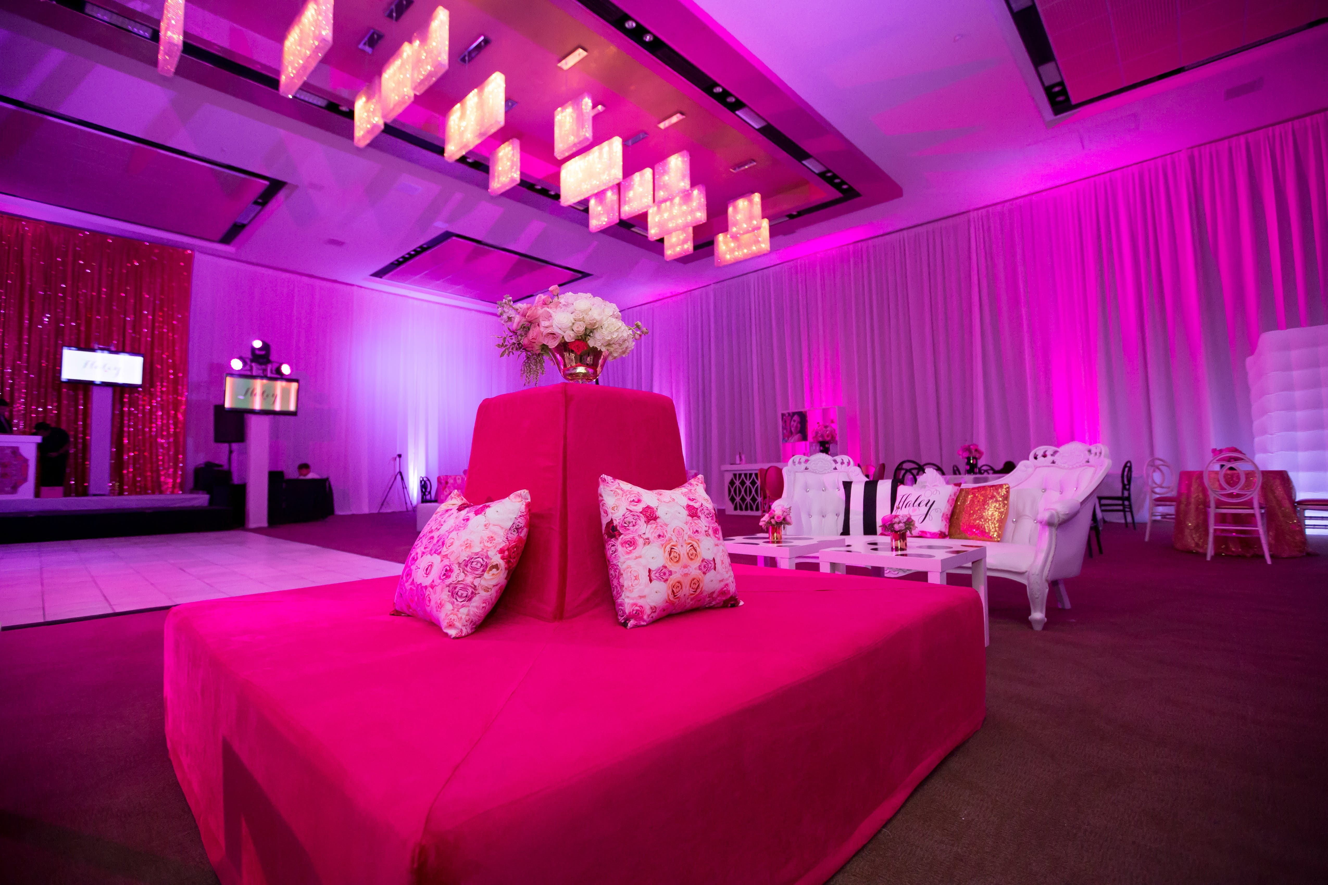 Black Pink Mod Bat Mitzvah Party Rentals And Decor By Gilded Group Decor Miami Event Design Miami Event Decor Miami Even Event Decor Event Design Event