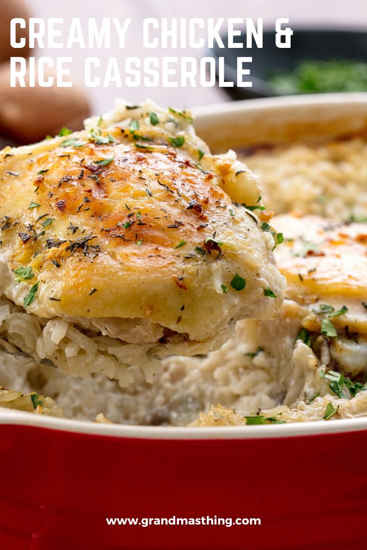 Creamy Chicken Rice Casserole In 2020 Chicken Casserole Easy Creamy Chicken And Rice Recipes