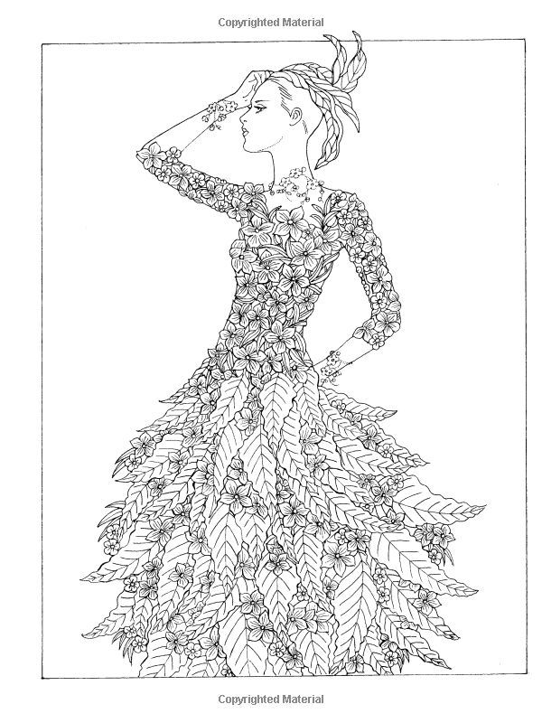 Creative Haven Coloring Book Flower Fashion Fantasies