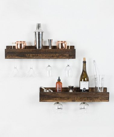 Look what I found on #zulily! Dark Walnut Shallow Wine Glass Shelf - Set of Two #zulilyfinds